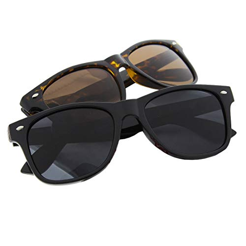 grinderPUNCH Polarized Sunglasses Great for Driving 2 Pack Black and Tortoise