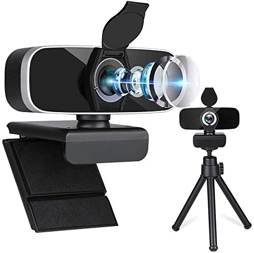 Dual Microphone Webcam with Tripod&Privacy Cover, Sherry Web Camera for Computers, Plug&Play Driver Free USB Camera, High Resolution 1080p Webcam, Easy Install Camera for Computer