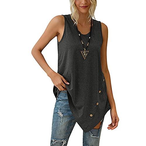 Frühling und Sommer Damen Casual Fashion Rundhals Einfarbig Unregelmäßige Knöpfe Lose Ärmellose Weste T-Shirt Top Damen