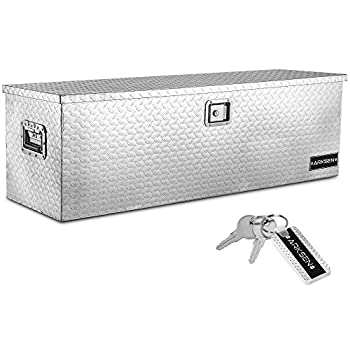 ARKSEN 49  Aluminum Diamond Plate Tool Box Pick Up Truck Bed Storage Chest Box RV Trailer Organizer Lock W/Key Silver