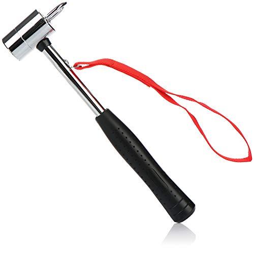 com-four® Camping Hammer mit Heringauszieher - Zelt Hammer mit Handschlaufe - Hering Hammer aus Carbon Stahl, verchromt - Camping Zubehör (Carbonstahl)