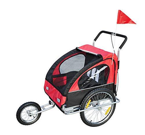 HOMCOM 2 in 1 Jogger Kinderanhänger Fahrradanhänger Kinder Radanhänger mit Fahne Rot-Schwarz