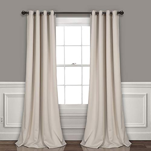 "Lush Decor Wheat Curtains-Grommet Panel with Insulated Blackout Lining, Room Darkening Window Set (Pair) 120"" x 52 L"
