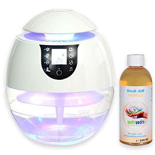winwin clean Systemische Reinigung - AIR Blow III I Bluetooth I IONISATOR I LED I 3 LEISTUNGSSTUFEN I INKL. LUFTREINIGUNGS-Konzentrat Fresh AIR 'VANILLE' 500ML
