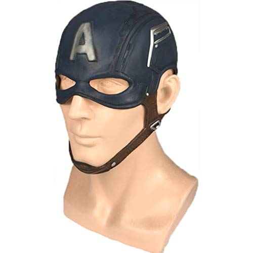 QWEASZER Captain America: Civil War, Captain America Latexmaskenhelm Marvel Avengers Captain America 3 Maske COS Halloween Helm Requisiten,Captain America-OneSize
