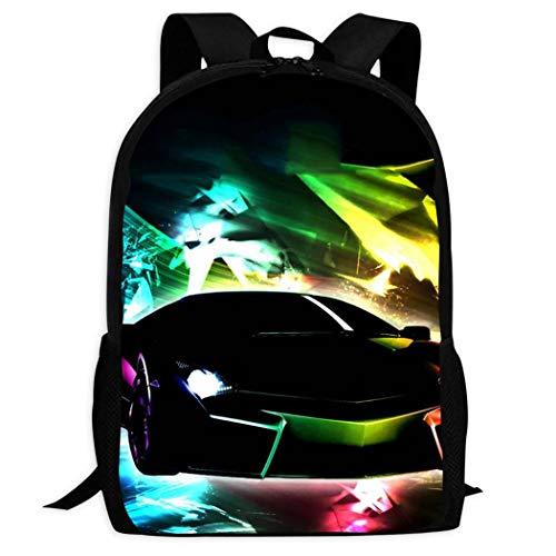JYFDC-22 Neon Lights Lam-Borghini 3D-Druck Stilvolle Kinder Schule Buch Tasche Schultertasche Rucksack für Teenager Jungen Mädchen Schwarz Schwarz Einheitsgröße