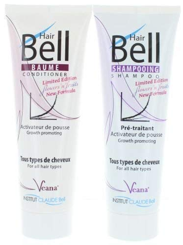 HairBell Shampoo + Conditioner - flowers'n'fruits (2x 250ml) - Neuer Duft - HairJazz HairPlus - Haarwachstum beschleunigen - Made in Europe