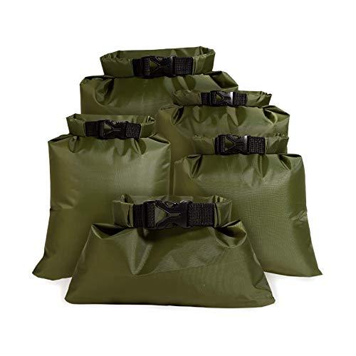 Juego de bolsas secas impermeables y ligeras para playa, 1,5 L, 2,5 L, 3,5 L, 4,5 L, 6 L, color verde militar