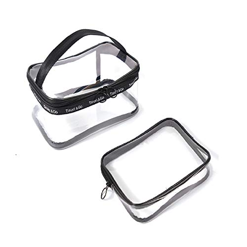 Transparent Cosmetic Bag Portable Clear Travel Cosmetic Bag PVC Makeup Handbag Organiser for Men and Women (2PCS)