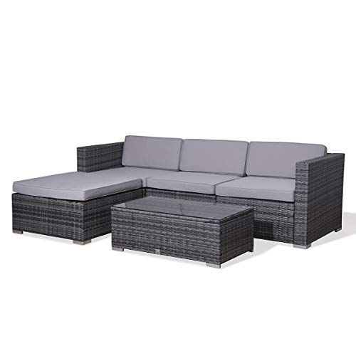 Evre Rattan Outdoor Garden Furniture Set California Sofa Set with Coffee Table (Grey)