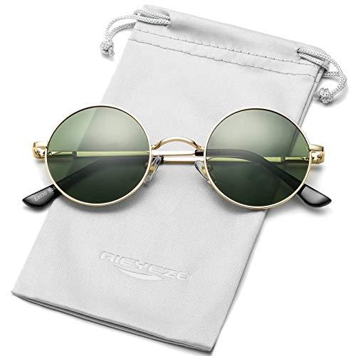 Óculos de sol redondos Steampunk, John Lennon Hippie, armação de metal, lentes 100% com bloqueio UV, Z Gold/G-15 - 45mm, MM