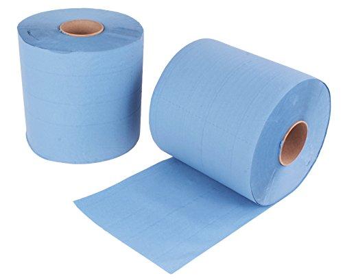 2 Stück Putzrollen blau | je 500 Blatt 2-lagig | 21x34 cm | verleimt geprägt und nassfest | von EUROCELL