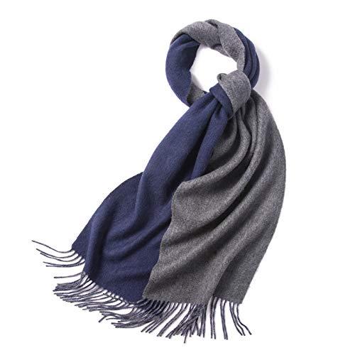 SUNHAO sjaal herfst en winter geschenken effen kleur mannen blauw-grijs warm dubbelzijdig sjaal Joker dikke sjaal