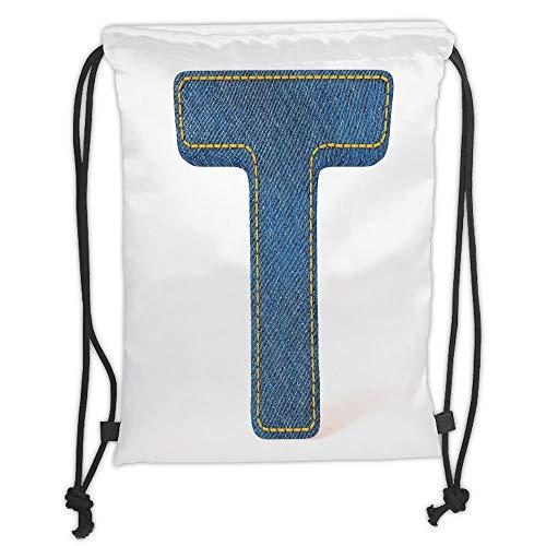 Fevthmii Drawstring Backpacks Bags,Letter T,Alphabet Design with Denim Texture Element Blue Jeans Stitches Illustration Print Decorative,Blue Yellow Soft Satin,5 Liter Capacity,Adjustable S