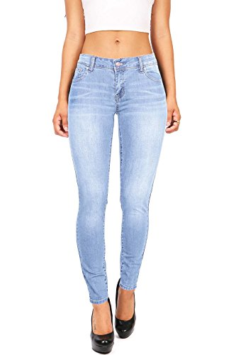 Wax Women's Juniors Basic Stretchy Fit Skinny Jeans (0, Light)