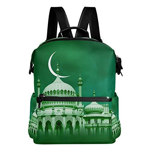 DEZIRO Rucksäcke mit grünem Hintergrund, großes Palace-Muster, Schulranzen, Tagesrucksack, Reisetasche