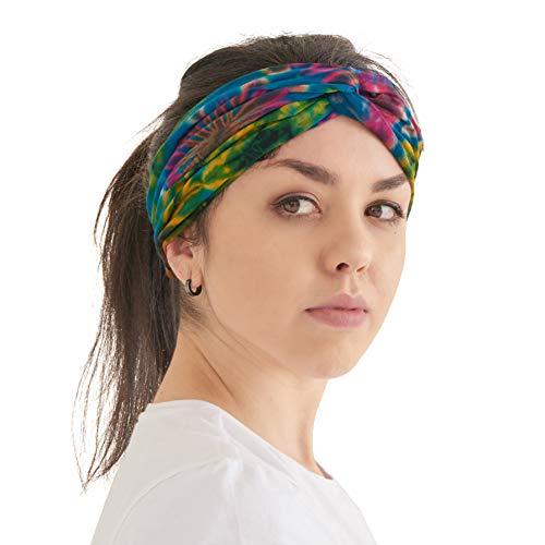 CHARM Tie Dye Diadema Hippie - Cinta Para Verano Turbante Hombre Boho Yoga Headband Banda Hippy Accesorio A