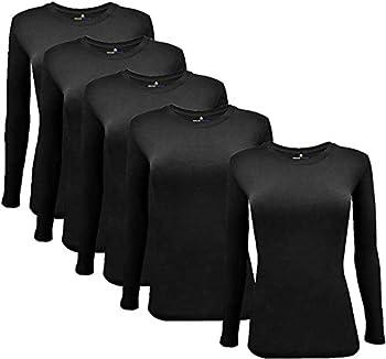 Natural Uniforms Women s Under Scrub Tee Crew Neck Long Sleeve T-Shirt 5-Multi Pack  Large 5 Pack- Black