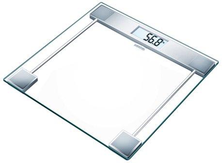 Sanitas SGS 06 Pèse-personne en verre, balance de salle de bain, capacité jusqu'à 150 kg et grand écran, transparent