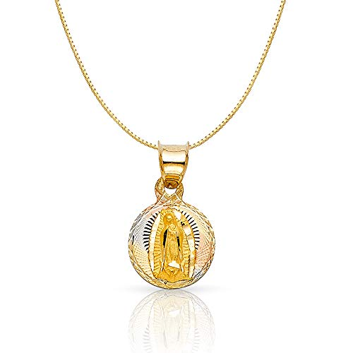 14K Tri Color Gold Diamond Cut Our Lady of Guadalupe Stamp Religious Charm Pendant with 0.5mm Box Chain Necklace - 18