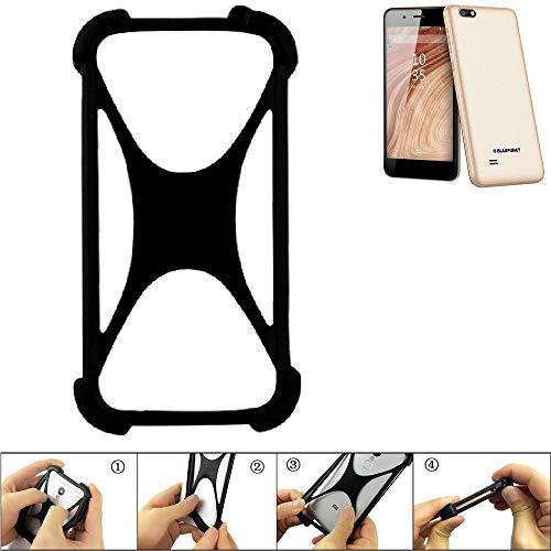 K-S-Trade® Handyhülle Für Blaupunkt SL 04 Schutz Hülle Silikon Bumper Cover Case Silikoncase TPU Softcase Schutzhülle Smartphone Stoßschutz, Schwarz (1x),