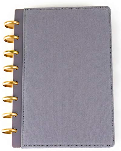 Fifty Two East Studio Disc Bound Notebook 8.5 X 5.5, A5 Size (Gray Book Cloth) (200 Lined Sheets/400 Pages) (Gold Discs, 24mm)