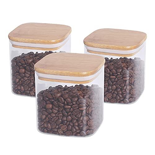 77L Vorratsglas Glasbehälter, (3er Set) 650 ML (21.95 FL OZ) Quadratische Vorratsdosen Glas aus Borosilikatglas mit Luftdichten Deckel aus Bambus, Vorratsdose für Servieren Tee, Kaffee und Mehr
