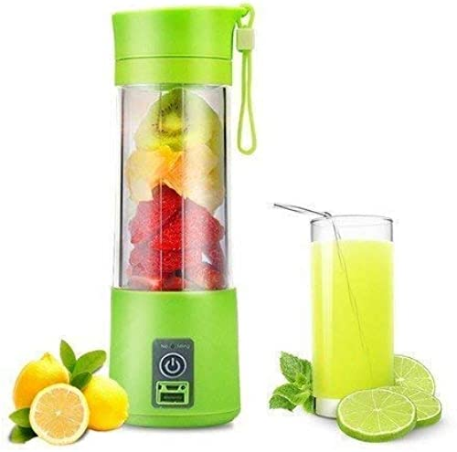 HOME KITCHEN STUDIO Portable Blender Personal Size Electric Rechargeable USB Juicer Cup Fruit Mixer Machine with 4 Blades for Home and Travel 380 ml Multicolor