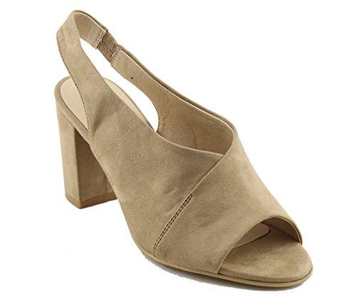 Nature Breeze FG73 Womens Slip On Chunky Block Heel Mule Sandals (8.5 B(M) US, Beige Suede)