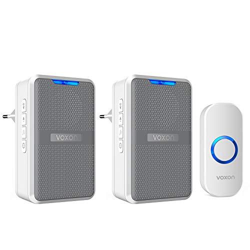 VOXON Campanelli Wireless Portabile, Campanello Impermeabile con 3 modalità di Funzionamento Selezionabili, 58 Suonerie e 4 Livelli di Volume, Indicatori LED