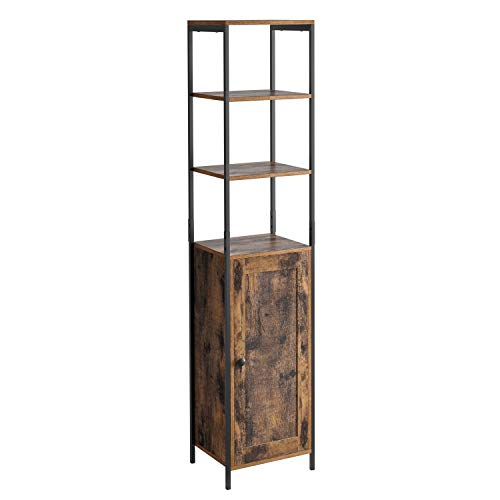 Homfa Tall Cabinet Industrial Bathroom Cupboard Freestanding Storage Shelf Floor Cabinet Tallboy Unit with 3 Shelves and 1 Cupboard 37x30x166cm