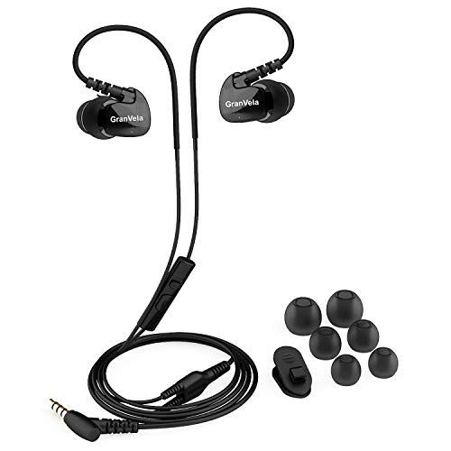 Granvela GV1 HD Classic Sports Earphones Waterproof Running Earbuds Wired with Mic,Memory Wire Earhooks and Clips - Black