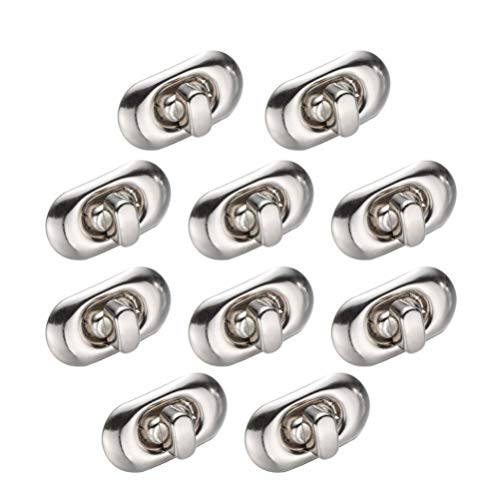 HEALLILY Turn Lock Clasp Purse Closure Twist Lock Fasteners for DIY Craft Bag Handbag Making 12Pcs (Silver)