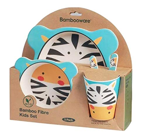 Vaisselle de Bambou Bébé et Enfant ♻ Ensemble de Vaisselle en Fibre de Bambou - Matériau Écologique, Bio, sans BPA - Passe au Lave-Vaisselle - Set de 5 Pcs Assiette, Bol, Cuillère, Fourchette et Tasse