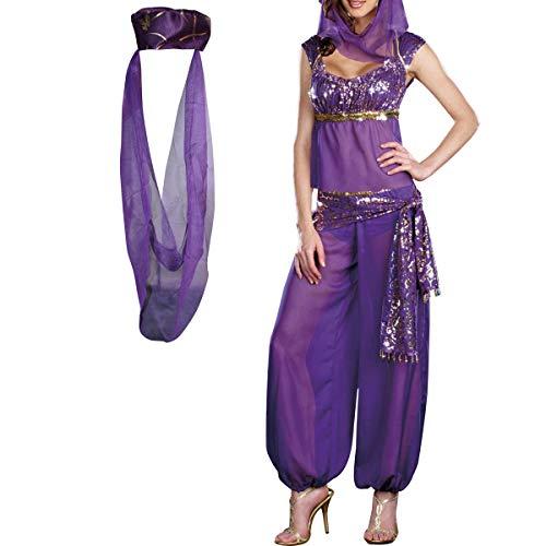 Jasmine Genie Belly Women Dancer Arabian Nights Fancy Dress Costume (M, Purple)