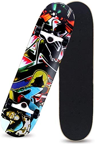 XKstyle Standard Skateboard, 8-layer Maple Deck, 31 * 7.6 Inch Sunken Skateboard, Suitable For Extra Long Sports