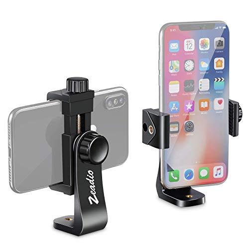 Zeadio Smartphone Stativ Adapter, Handy-Halterung, Selfie Stick, Einbeinstativ, verstellbare Klemme, vertikale und horizontale Schwenkhalterung, Passend für alle iPhone und Android Smartphones