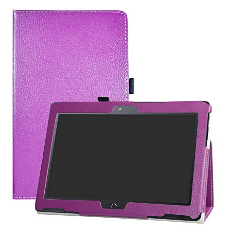 "LFDZ BQ M10 Funda, Soporte Cuero con Slim PU Funda Caso Case para 10.1"" bq Aquaris M10 FullHD FHD HD/Aquaris M10 Ubuntu Edition Tablet,Púrpura"
