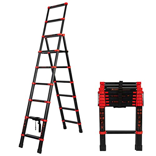 Telescoping Ladder A-Frame Aluminum Folding Extension Ladder Multi-Purpose Step Ladder(7+9 Stepers)