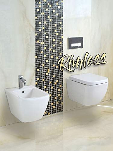 Yellowshop - Sanitari Bagno Sospesi Filo Muro Rimless senza brida Modello Klass Vaso Wc + Coprivaso Soft Close + Bidet