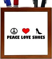 Rikki Knight Peace Love Shoes Design 5-Inch Tile Wooden Tile Pen Holder (RK-PH41143) [並行輸入品]