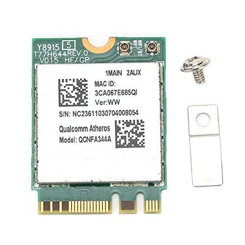 ASHATA Mini Scheda di Rete, Scheda di Rete Wireless Dual-Band da 1200 Mbps QCNFA344A WiFi per Modello con Chip Bluetooth Modulo Wireless con interfaccia NGFF M2 per Windows
