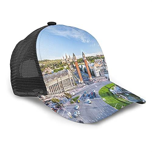 Aliciga Gorra de Beisbol para Hombres Mujeres Espalda de Malla Snapback,Vista del Centro de Barcelona España,Sombrero del Camionero Deportes al Aire Libre para Viajar