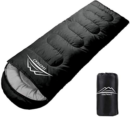 LEEPWEI Envelope Sleeping Bag, Lightweight, Thermal, 210T Waterproof Shuffle, Compact, Outdoor, Camping, Mountain Climbing, Sleeping in Car, Disaster Prevention, Washable, Comfortable Temperature for Spring, Summer, Autumn and Winter, Storage Pack Included
