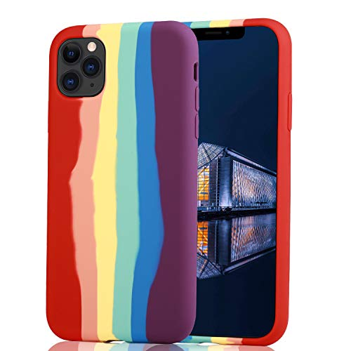 MEAXVIDNS iPhone 11 Pro Max Case,Bright Rainbow and Flexible Soft Slim fit Full-Body Shockproof Protective Liquid Silicone Fresh and Cute Protective