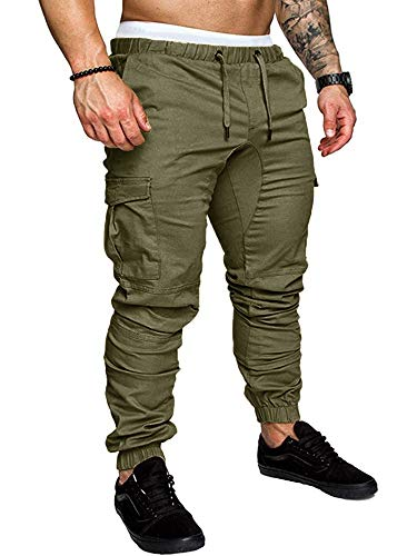 Karlywindow Mens Joggers Sweatpants Stretch Casual Cotton Cargo Pants Workout Sports Track Pants Long Trousers Army Green