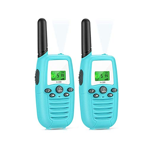 AILSAYA Children's Walkie-Talkie 2 Pcs, Radio H-388 Channel 3Km Range Radio Mobile Phone with Flashlight and LCD Screen,A