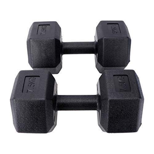 WINOMO - Juego de 2 mancuernas de hierro fundido, 7,5 kg, para aeróbic, mancuernas con superficie de plástico para entrenamiento de fuerza, gimnasia y