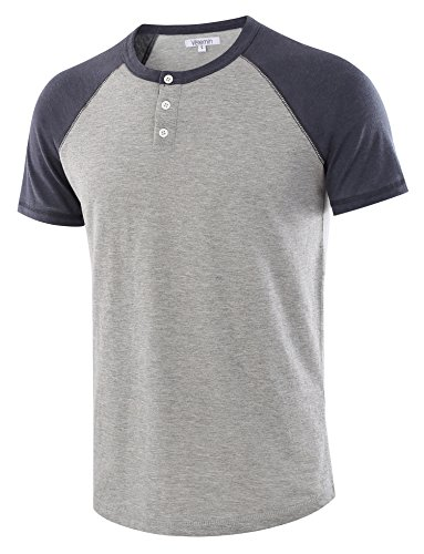 Vetemin Men's Casual Short Sleeve Raglan Henley T-Shirts Baseball Shirts Tee H.Gray/C.Blue M