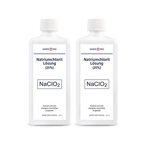Hansepro Natriumchlorit Lösung (25%), 2 x 500 ml, nach Original-Rezeptur, deutsches Qualitätsprodukt